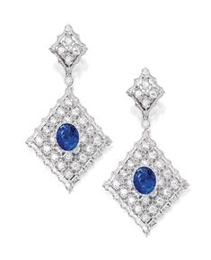 18 Karat White Gold, Sapphire and Diamond Pendant-Earclips, Buccellati