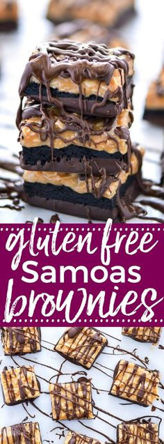 Gluten Free Samoas Brownies - these are way better than the cookie! Coconut, caramel, and a heavy dose of chocolate! Recipe from @whattheforkblog   whattheforkfoodblog.com   easy gluten free desserts   gluten free brownie recipes   the best gluten free de