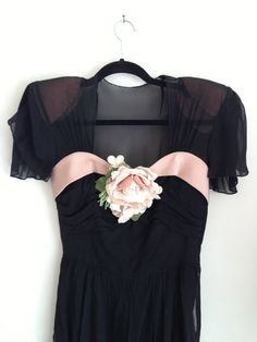 SHOW STOPPER 1940s Pink and Black Chiffon Peplum by WhynaughtShop, $364.00
