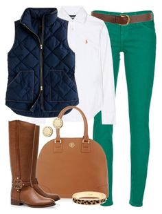 """Bye, Winter."" by classically-preppy ❤ liked on Polyvore featuring Current/Elliott, Warehouse, Ralph Lauren, J.Crew, Tory Burch, Marc by Marc Jacobs, leopard print, big bangles, riding boots and green skinny jeans"