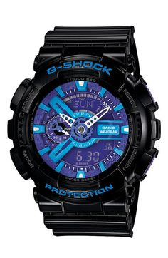 This face would blow him away, and the color would look fabulous on him; Casio 'G-Shock X-Large Big Combi' Watch