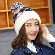 33 Best pom pom bobble hat for women winter knit hats images ... 8ddce269bdb