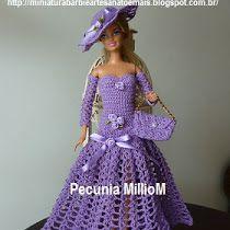 Barbie como fazer vestidos de crochê e roupas fashions para Barbie. Artesanato, PAP e gráficos de vestido de noiva para Barbie, sapatos e bolsas.