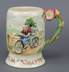 "Lot  71, A Crown Devon Fields musical mug - Daisy Bell 6"" est £60-80"
