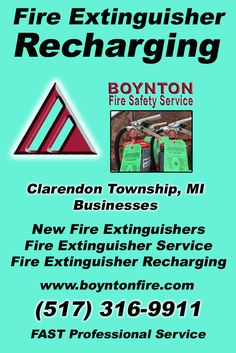 Fire Extinguisher Recharging Clarendon Township, MI (517) 316-9911 We're Boynton Fire Safety Service. Call Today and Discover the Complete Source for all Your Fire Protection!