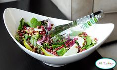 pomegranate, pear, and pecan salad