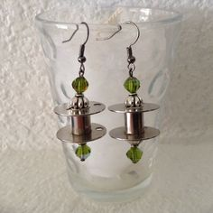 Sewing Machine Bobbin Earrings Steampunk Style-Recycled, Upcycled, Repurposed