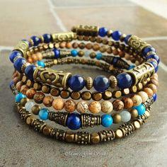 Blue Stone Memory Wire Bracelet Beaded Bangle by mamisgemstudio, $43.95