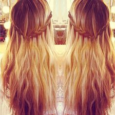 bohemian style :: half-up half-down waterfall braid