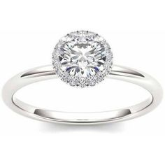 Imperial 1/2 Carat T.W. Diamond Single Halo 14kt White Gold Engagement Ring