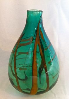 Hand Blown Glass Calligraphy Vase