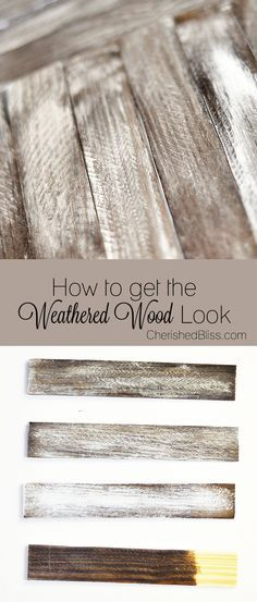 How To Get The Weathered Wood Look - great post shows how to get different finishes with paint and stain.