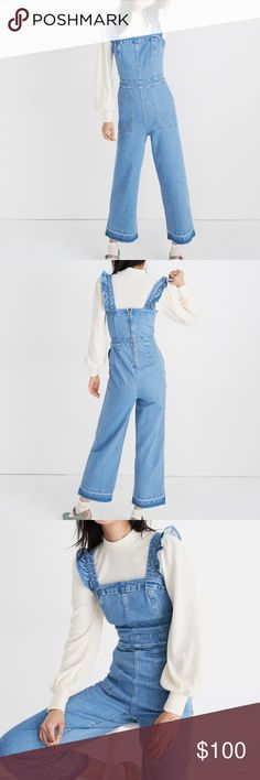b3f7662bc317 NWT Madewell denim ruffle strap overalls jumpsuit Brand new with tags! This  is a great