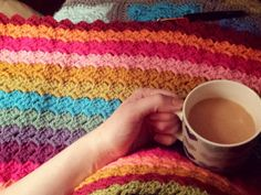Chilling out with tea and c2c blanket at the moment simple pleasures #crochet #crochetblanket #crochetaddict #crochetersofinstagram #crochetcornertocorner #multicolour #crochetc2c #stylecraftdkspecial #attic24 #attic24sunnyyarnpack by hazels_crochet