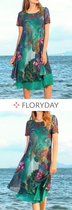 Floral Short Sleeve Knee-Length A-line Dress, floral dress, short sleeve, knee-length, A-line dress, fashion dress, summer, stylish.