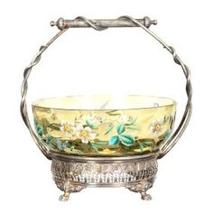 Solid Olive Green Art Glass Coinspot Bowl W/ Enamel Floral Decor Set On Rogers #5505 Silver Plate Frame W/ Fancy Reticulate Base And Wire Twist Handle