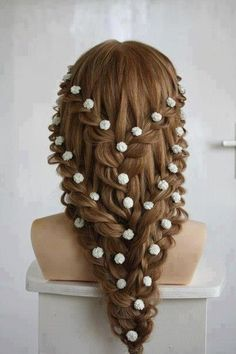 Waterfall braids into single braid hairstyle. Really lovely and I think it would look beautiful on you Rachel!