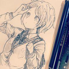 休憩〜髪を短くしたんですが、慣れなくて困ってます #illustration #doodle #drawing #otaku #manga #アナログ #落書き #絵 #イラスト