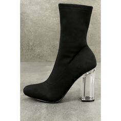 Antoinette Black Lucite Mid-Calf Boots (£36) ❤ liked on Polyvore featuring shoes, boots, black, mid-calf boots, black pointed toe boots, black pointy toe boots, long boots, black mid calf boots and mid calf length boots