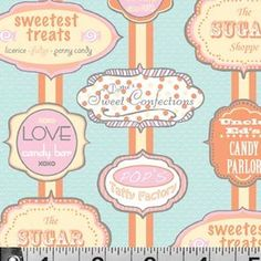 P & B Textiles House Designer - Dotties Sweet Shop - I Love Candy in Blue