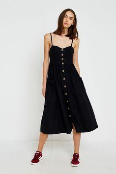Slide View: 1: UO Emilia Black Button-Through Midi Dress