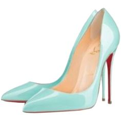 Pre-owned Christian Louboutin Pigalle Follies Patent Point-toe Red... (12,565 MXN) ❤ liked on Polyvore featuring shoes, pumps, heels, blue, blue patent pumps, patent leather shoes, blue heeled shoes, low pumps and patent pumps