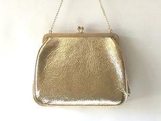JR USA Old Vintage Gold Handbag Purse. Golden Vinyl leather handbag. Gold evening bag. Signed designer gold purse. Vintage glamour. by TheOldJunkTrunk