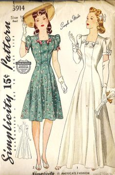 "1940s Misses Princess Line Wedding Gown, Evening Gown and Daytime Dress Vintage Sewing Pattern,Simplicity 3914 bust 34"" uncut"
