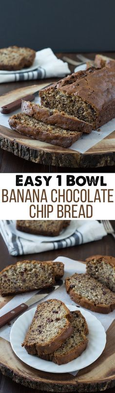 Easy Banana Chocolate Chip Bread - this one bowl banana bread recipe takes about 10 minutes to prep! It's one of the best banana bread recipes I've tried! Fun Desserts, Delicious Desserts, Dessert Recipes, Yummy Food, Baking Desserts, One Bowl Banana Bread, Best Banana Bread, Chocolate Chip Banana Bread, Chocolate Chips