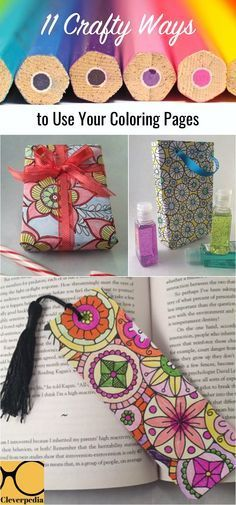 Don't leave your colored in coloring pages forgotten... put them to good use! Here are 11 crafty/DIY things you can do with your coloring book pages! #crafts #diy #coloringbooks