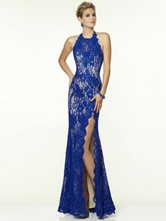 Sheath/Column Sleeveless Halter Lace Beading Sweep/Brush Train Dresses
