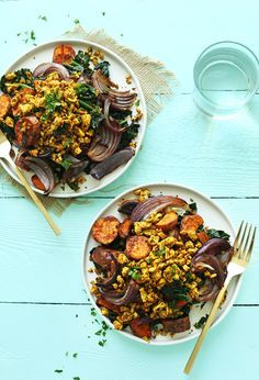Delicious Savory Tofu Scramble with Kale, Sweet Potatoes and Roasted Red Onion: flavorful, plant-based, and so satisfying.