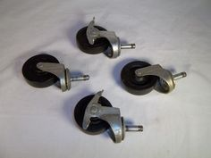 "Heavy Duty Stem Casters - Lot of 4 - Industrial 2 w/ Brakes - 3"" X 7/8"" Wheels  #3Bassick1NoeltingFaultless"