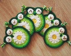 Crochet daisy owl coaster, Crochet Owl Coasters, crochet owl Appliques, crochet appliques. crochet owl pattern, PDF PATTERN