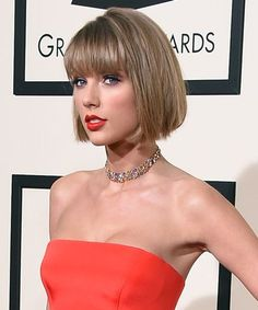 Taylor Swift Hair Cut Grammys 2016 | Taylor Swift cut her hair shorter for the Grammys. #refinery29 http://www.refinery29.com/2016/02/103282/taylor-swift-hair-cut-grammys-2016