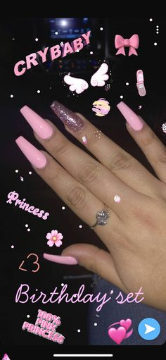 My birthday set pink acrylic nails glitter coffin baddie nailart nailinspiration birthdaynails pretty acrylic coffin nails design you need to try Acrylic Nails Natural, Acrylic Nails Coffin Pink, Simple Acrylic Nails, Summer Acrylic Nails, Coffin Nails, Acrylic Nails Glitter Ombre, Nail Pink, Summer Nails, Acrylic Nail Set