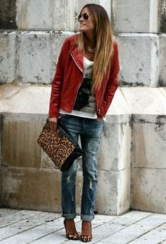 4be07403f00c Amazing Red Jacket With Bershka Jeans. Suitable and Similar Handbag and  Shoes Veste Léopard,