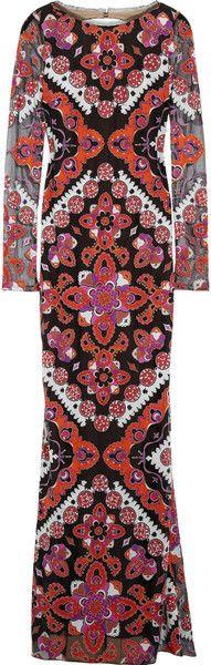 Emilio Pucci Cutout-back appliquéd devoré gown - ShopStyle Evening Dresses Nylons, Nice Dresses, Short Dresses, Amazing Dresses, New Dress, Dress Up, Italian Fashion Designers, Fashion Prints, Fashion Patterns
