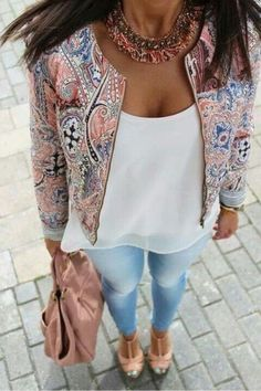 Wheretoget - Printed pink jacket, pink necklace, light blue jeans, blush pastel pink handbag and nude pink high heels