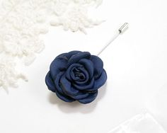 Navy Blue Satin Flower Men's flower Boutonniere Buttonhole for wedding,Lapel pin,hat pin,tie pin brooch accessories tie pin