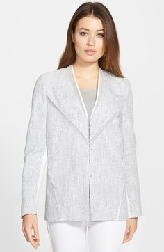 Women's Elie Tahari 'Leeann' Mixed Media Jacket