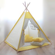 Kids teepee - Play tent - Teepee - Kids gift - Baby gift - Childrens gift - Boys teepee - Playhouse  !!! THIS LISTING DOES NOT INCLUDE WOODEN POLES (DOWELS) !!! !!! WINDOW IS AN OPTION AND IS NOT INCLUDED IN BASIC EQUIPMENT!!!  Teepee tent is great for indoor playing. Nevertheless, it can be used outdoors in a dry weather. Easy to expand like an umbrella. Due to its sewing pattern teepee is stable and safe for kids playing in. Wooden poles can be fastened together with a cotton cord. Made of…