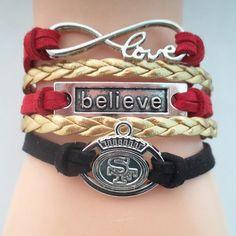 Love San Francisco 49ers Believe Bracelet - Free Shipping