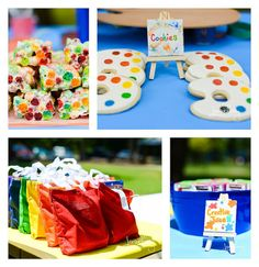 Art-Birthday-party-ideas.: The paint palate cookies, Creative juice(for Drinks)
