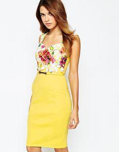 Vestido recto con cinturón y top de encaje floral multicolor de Lipsy