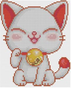 Kawaii Maneki Neko Cross stitch Pattern PDF. $5.00, via Etsy.
