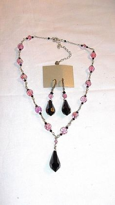 Handcrfafted Sterling Silver Necklace & Earrings Set, Pink & Black Crystals #Unbranded