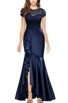 Enjoy exclusive for MISSMAY Women's Formal Floral Lace Cap Sleeve Wedding Evening Long Dress online - Lookpoppretty Long Dress Fashion, Latest African Fashion Dresses, Evening Dresses, Prom Dresses, Formal Dresses, Long Dress Design, Classy Dress, Dress Patterns, Designer Dresses