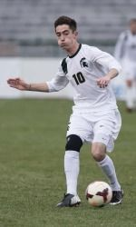 In snowy South Bend, Ind., the Michigan State men's soccer team (14-6-3) fell 2-1 to No. 3-seed Notre Dame in the NCAA Tournament Quarterfinal on Saturday night. Though the Spartans came back with a header from Jay Chapman after a two-goal deficit, they were unable to obtain the equalizer as time expired in the second half.