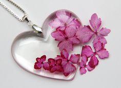 Real Flower and Resin Necklace, Real Flower Necklace,Hydrangea…